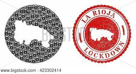 Vector Mosaic La Rioja Of Spain Map Of Locks And Grunge Lockdown Seal. Mosaic Geographic La Rioja Of