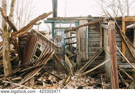Abandoned Ruined Old Wooden Village House In Chernobyl Resettlement Zone. Belarus. Chornobyl Catastr