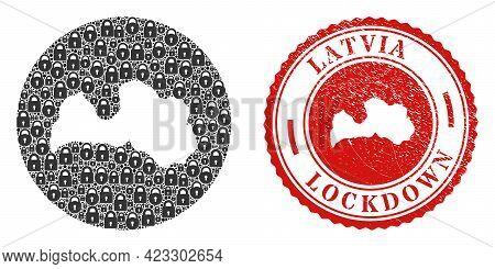 Vector Mosaic Latvia Map Of Locks And Grunge Lockdown Seal. Mosaic Geographic Latvia Map Designed As