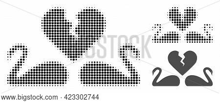 Divorce Swans Halftone Dotted Icon. Halftone Array Contains Round Elements. Vector Illustration Of D