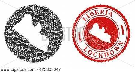 Vector Mosaic Liberia Map Of Locks And Grunge Lockdown Seal Stamp. Mosaic Geographic Liberia Map Des