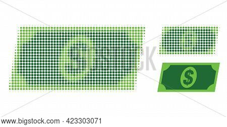 Dollar Banknote Halftone Dotted Icon. Halftone Array Contains Circle Dots. Vector Illustration Of Do