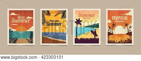 Summer Tropical Cards. Vacation Posters In Retro Style. Backgrounds With Summer Tropical Leaves, Lan