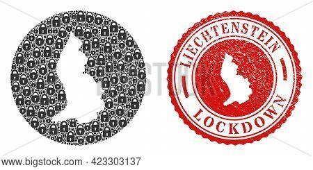 Vector Mosaic Liechtenstein Map Of Locks And Grunge Lockdown Seal. Mosaic Geographic Liechtenstein M