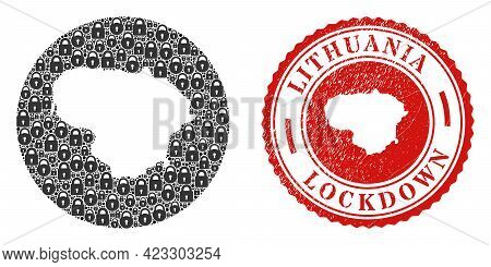 Vector Mosaic Lithuania Map Of Locks And Grunge Lockdown Seal. Mosaic Geographic Lithuania Map Creat
