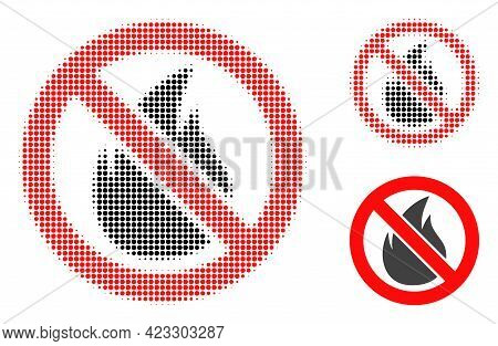 Forbidden Fire Halftone Dotted Icon. Halftone Array Contains Round Dots. Vector Illustration Of Forb
