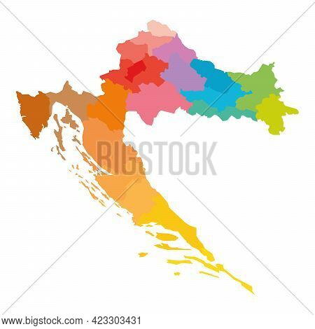 Colorful Political Map Of Croatia. Administrative Divisions - Counties. Simple Flat Blank Vector Map