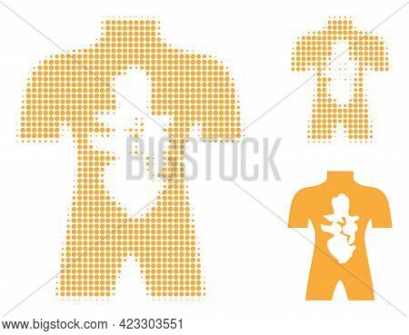 Human Anatomy Halftone Dotted Icon. Halftone Array Contains Circle Dots. Vector Illustration Of Huma