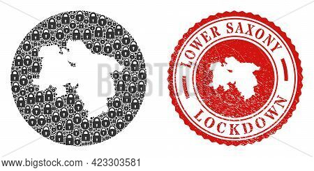 Vector Mosaic Lower Saxony Land Map Of Locks And Grunge Lockdown Seal Stamp. Mosaic Geographic Lower