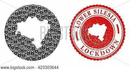 Vector Mosaic Lower Silesia Province Map Of Locks And Grunge Lockdown Seal Stamp. Mosaic Geographic