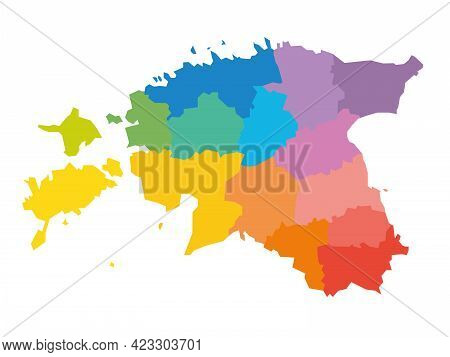 Colorful Political Map Of Estonia. Administrative Divisions - Counties. Simple Flat Blank Vector Map