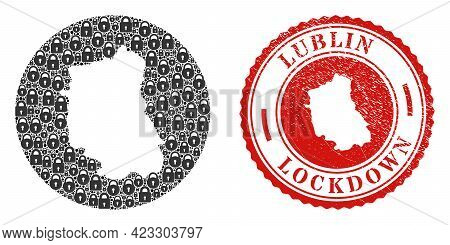 Vector Mosaic Lublin Voivodeship Map Of Locks And Grunge Lockdown Seal Stamp. Mosaic Geographic Lubl