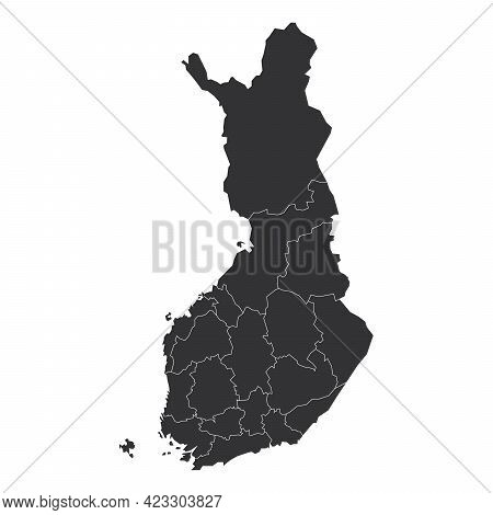 Grey Political Map Of Finland. Administrative Divisions - Regions. Simple Flat Blank Vector Map.