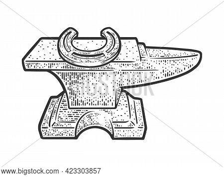 Horseshoe On Anvil Line Art Sketch Engraving Vector Illustration. T-shirt Apparel Print Design. Scra