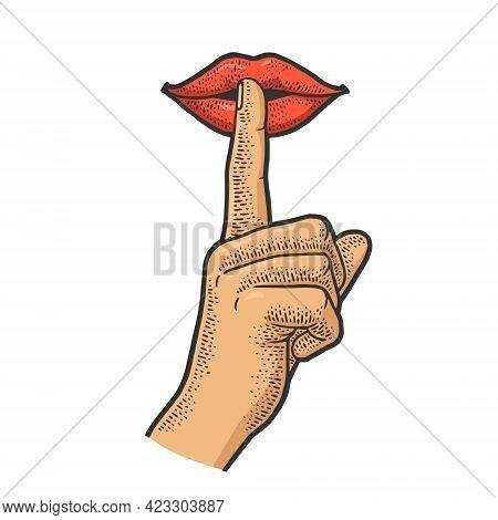 Mouth With Finger Silence Gesture Color Line Art Sketch Engraving Vector Illustration. T-shirt Appar