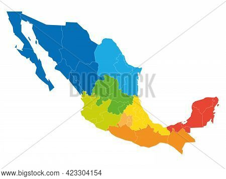 Colorful Political Map Of Mexico. Administrative Divisions - States Divided By Color Into Regions. S