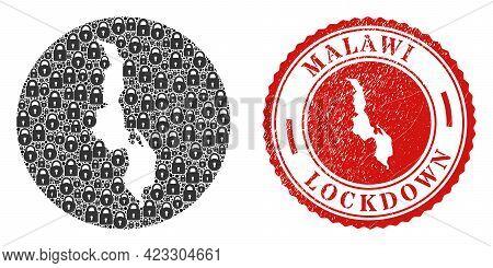 Vector Mosaic Malawi Map Of Locks And Grunge Lockdown Seal. Mosaic Geographic Malawi Map Constructed