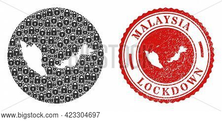 Vector Mosaic Malaysia Map Of Locks And Grunge Lockdown Seal. Mosaic Geographic Malaysia Map Constru