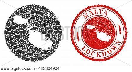 Vector Mosaic Malta Map Of Locks And Grunge Lockdown Seal. Mosaic Geographic Malta Map Constructed A