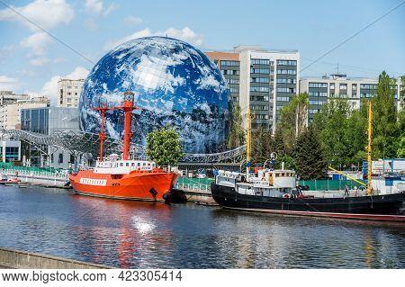 Kaliningrad, Russia, May 17, 2021. Museum Display Ship. An Exhibit Of The. Embankment Of The Maritim