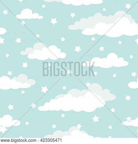 Seamless Cartoon Background With White Clouds And Shabby Stars On Turquoise Sky. Overcast Pattern. V