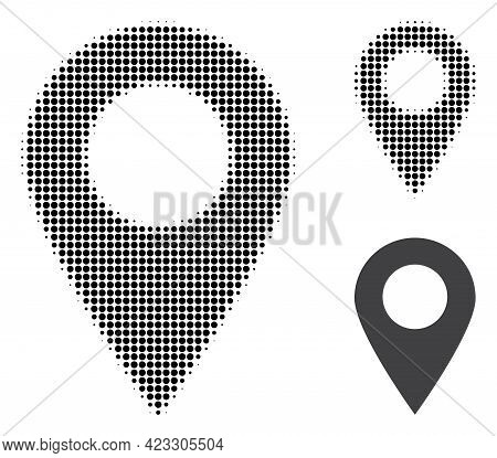 Map Marker Halftone Dotted Icon. Halftone Pattern Contains Circle Dots. Vector Illustration Of Map M