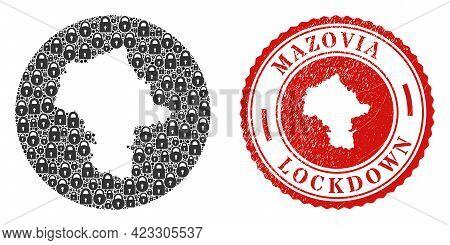 Vector Mosaic Masovian Voivodeship Map Of Locks And Grunge Lockdown Stamp. Mosaic Geographic Masovia