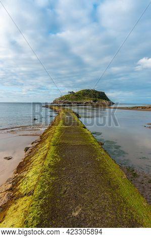 Footbridge To Go To San Nicolas Island At Low Tide From Isuntza Beach In Lekeitio, Basque Country. B