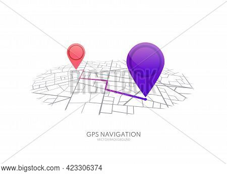 Map Gps Navigation. City Street Map With Pins. Route Dashboard App. Vector Route Navigator.