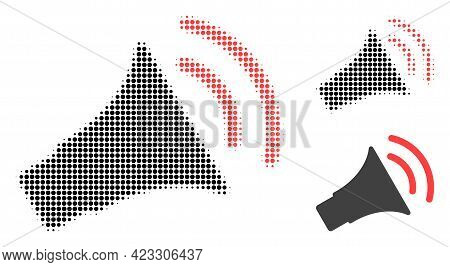 Announce Horn Halftone Dotted Icon. Halftone Pattern Contains Circle Pixels. Vector Illustration Of