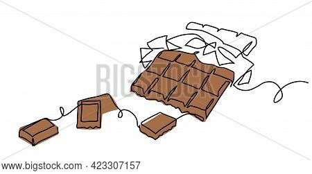 Chocolate Bar One Continuous Line Drawing. Unfolded Chocolate Minimal Vector Illustration With Piece