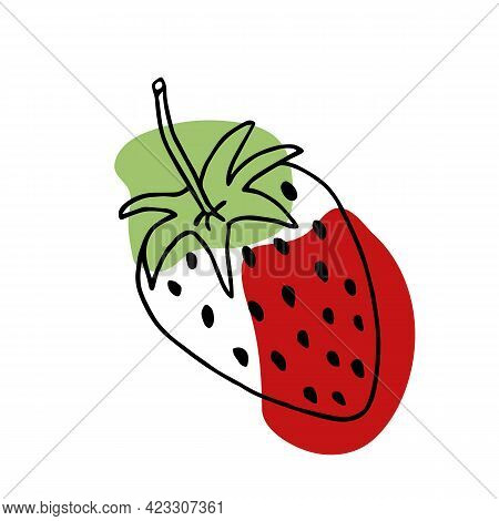 Vector Hand Drawn Strawberry Outline Doodle Icon. Garden Strawberry. Doodle Fruit Or Strawberries. S