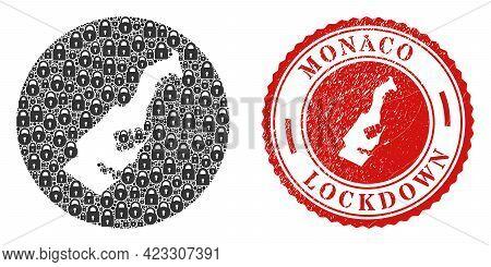Vector Mosaic Monaco Map Of Locks And Grunge Lockdown Seal. Mosaic Geographic Monaco Map Designed As