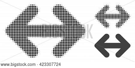 Exchange Arrows Horizontally Halftone Dotted Icon. Halftone Array Contains Round Points. Vector Illu