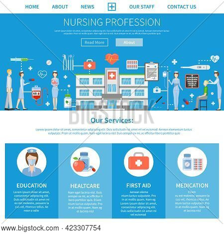 Nursing Profession Advertising Layout With Presentation Of Nurse Education Functions And Services Fl