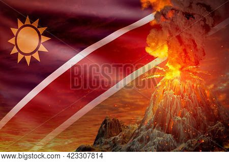 Conical Volcano Blast Eruption At Night With Explosion On Namibia Flag Background, Troubles Because