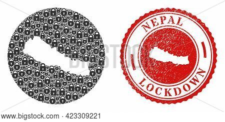 Vector Mosaic Nepal Map Of Locks And Grunge Lockdown Stamp. Mosaic Geographic Nepal Map Created As H
