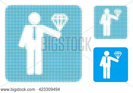 Groom Diamond Halftone Dotted Icon. Halftone Array Contains Circle Points. Vector Illustration Of Gr