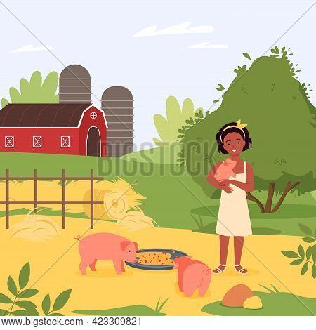 Happy Child With Domestic Pig Farm Animal, Girl Hugging Cute Piggy, Feeding Pets