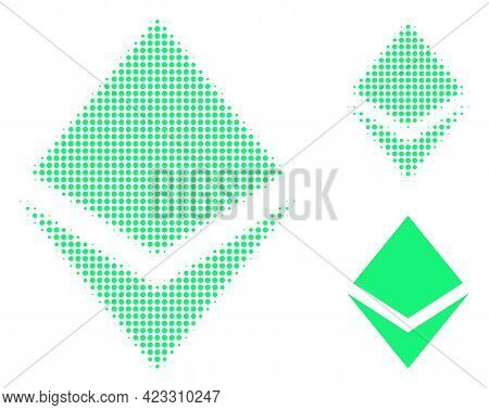 Crystal Halftone Dotted Icon. Halftone Pattern Contains Circle Elements. Vector Illustration Of Crys