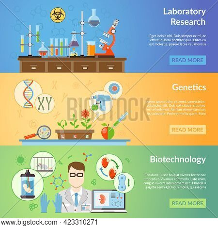 Biotechnology And Genetics Horizontal Banners Set With Elements Of Biomaterials And Laboratory Equip