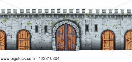 Vector Stone Castle Wall Seamless Background, Medieval Brick Palace Fortification Texture, Wooden Ci