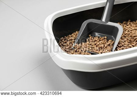 Cat Litter Tray With Filler And Scoop On Light Background, Closeup