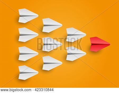 Business And Leadership Concept. Individual Red Leader Paper Plane Lead Other. Vector Illustration