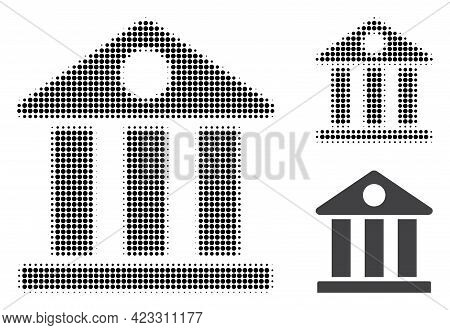 Museum Halftone Dotted Icon. Halftone Pattern Contains Round Dots. Vector Illustration Of Museum Ico