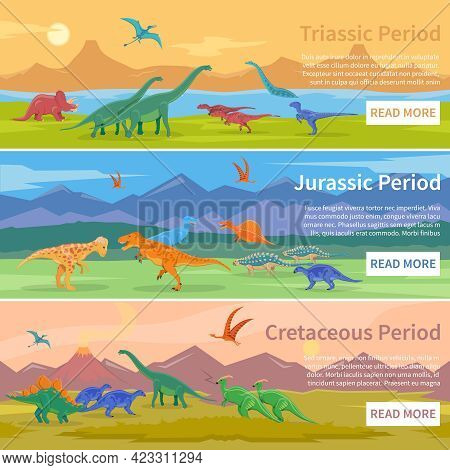 Dinosaurs Flat Horizontal Banners Set Of Design Backgrounds With Groups Of Giant Ancient Pangolins L