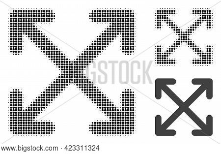 Enlarge Arrows Halftone Dotted Icon. Halftone Pattern Contains Circle Pixels. Vector Illustration Of