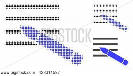 Edit Text Halftone Dotted Icon. Halftone Pattern Contains Round Elements. Vector Illustration Of Edi