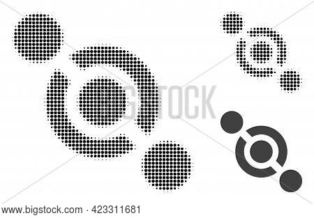 Joint Connector Halftone Dotted Icon. Halftone Array Contains Circle Pixels. Vector Illustration Of