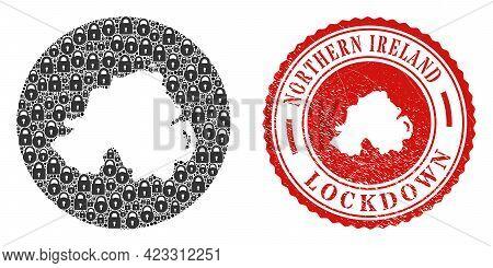 Vector Mosaic Northern Ireland Map Of Locks And Grunge Lockdown Seal Stamp. Mosaic Geographic Northe